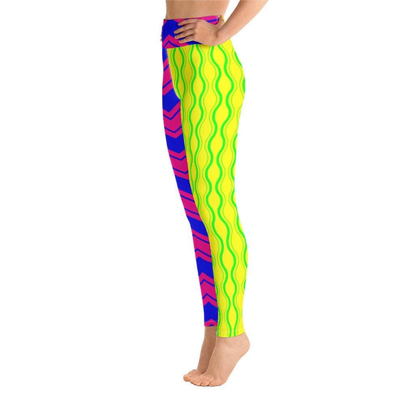Audrey & Irene  Yoga Leggings Neon Chevron Moroccan Yoga Pants Leggings