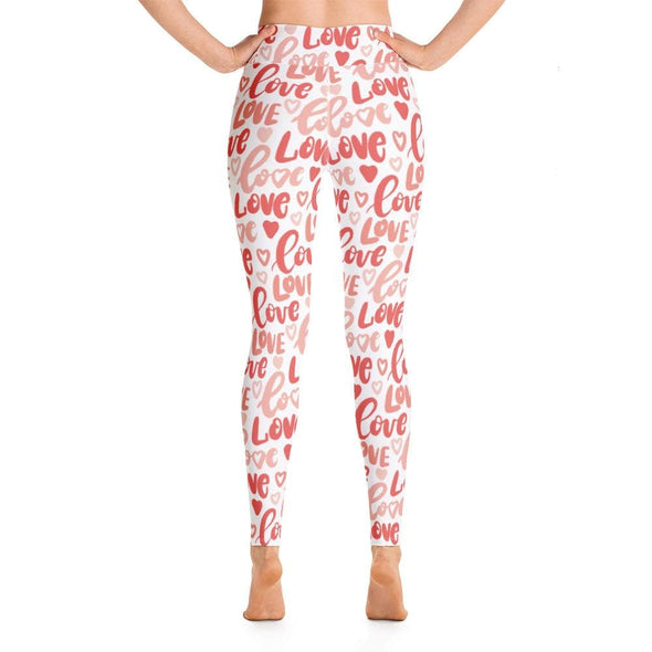 Audrey & Irene  Yoga Leggings Pink Red Hearts & Love Yoga Pants Leggings