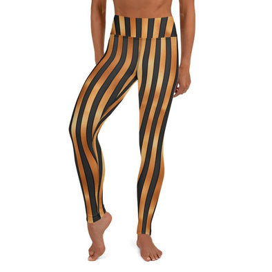 Audrey & Irene  Yoga Leggings S Orange & Black Stripped Halloween Yoga Pants Leggings