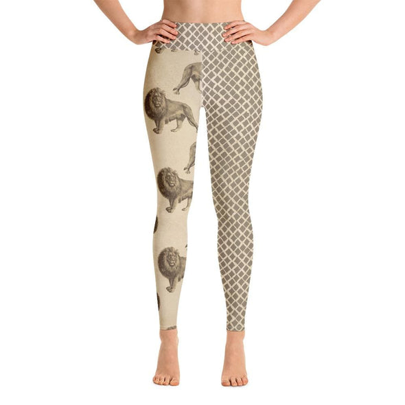 Audrey & Irene  Yoga Leggings XL / Yoga Leggings Lion Wildlife Yoga Pants Capri Leggings
