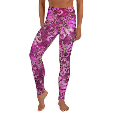 Audrey & Irene  Yoga Leggings XS Lotus Flower Pink Grunge Yoga Pants Leggings