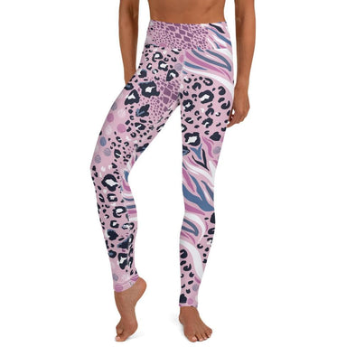 Audrey & Irene  Yoga Leggings XS Pink Abstract Animal Print Yoga Pants Leggings