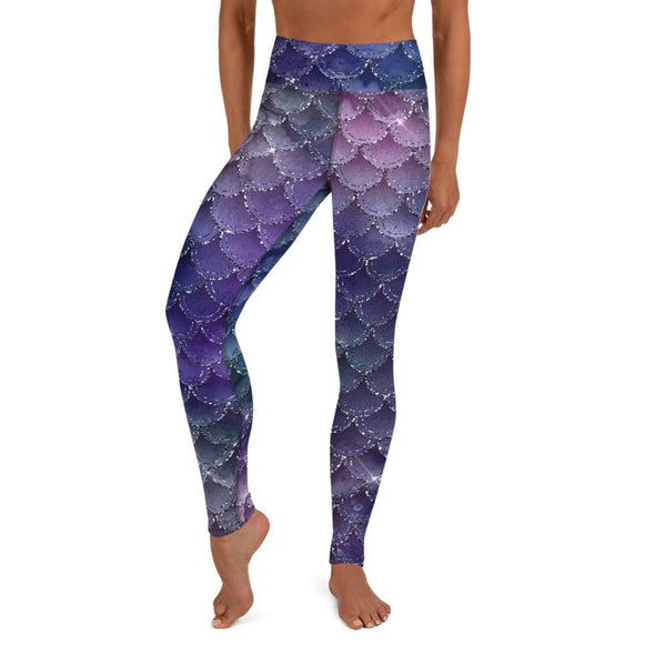 Audrey & Irene  Yoga Leggings XS Purple Mermaid Scales Yoga Pants Leggings
