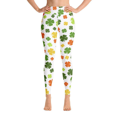 Audrey & Irene  Yoga Leggings XS St Patrick's Day Yoga Pants Leggings Multi Color Shamrocks