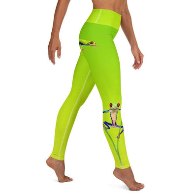 Audrey & Irene  Yoga Leggings XS Tree Frogs Watercolor Yoga Pants Leggings