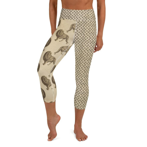 Audrey & Irene  Yoga Leggings XS / Yoga Capris Lion Wildlife Yoga Pants Capri Leggings
