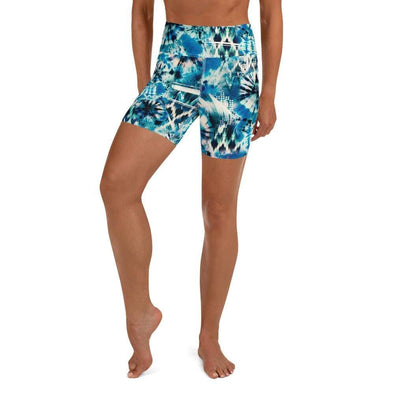 Audrey & Irene  Yoga Shorts XS Blue Tie Dye Yoga Shorts