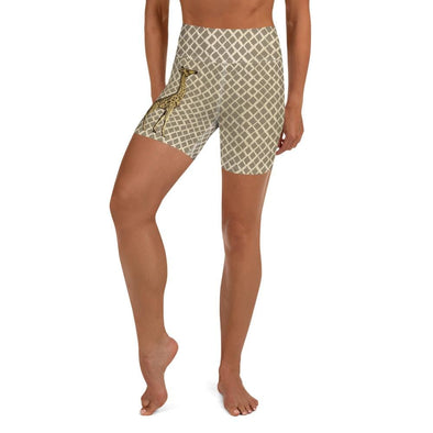 Audrey & Irene  Yoga Shorts XS Giraffe Wildlife Yoga Shorts