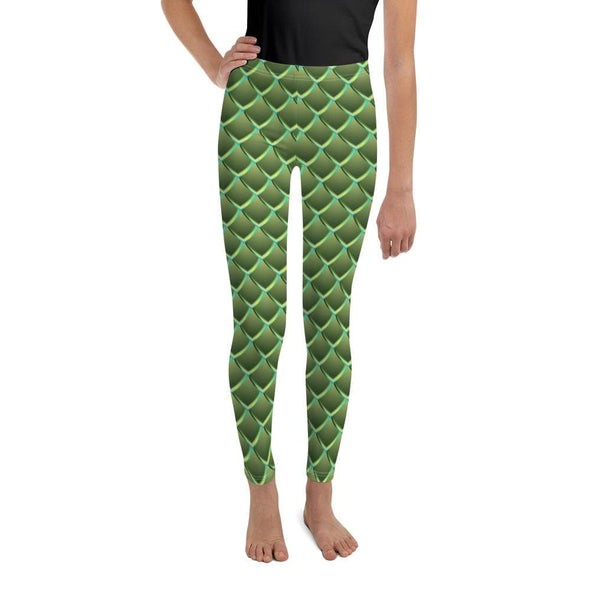 Audrey & Irene  Youth Leggings 8 Dragon Scales Green Fantasy Youth Leggings