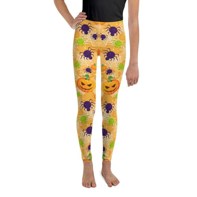 Audrey & Irene  Youth Leggings 8 Jack O'Lanter Spiders Halloween Youth Leggings