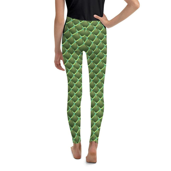 Audrey & Irene  Youth Leggings Dragon Scales Green Fantasy Youth Leggings
