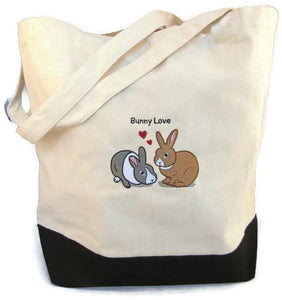 WheekyⓇ Pets Rabbit (Bunny Love) Embroidered Tote Bag - Wheeky Pets, LLC (Green Oak Technology Group)