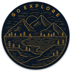 "Go Explore 3"" Weather-Proof Sticker - Alpine Ridge Outfitters"