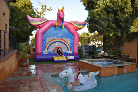 13'Wx13'L Inflatable Rainbows & Flying Unicorns Jumper (Medium) - Inflatable Fun Warehouse