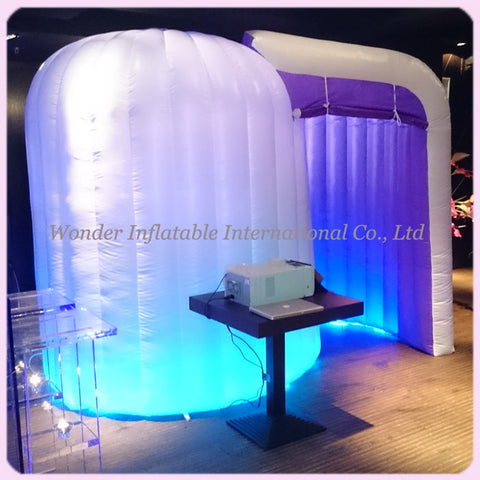 10'Lx7'Wx7'H Inflatable Photo Booth With LED Lights - Inflatable Fun Warehouse