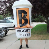 7' Inflatable Coffee Cup Walking Mascot - Inflatable Fun Warehouse