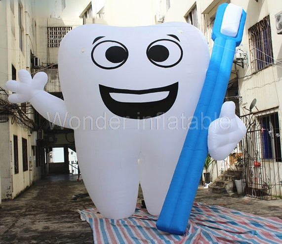 10'H Inflatable Tooth With Toothbrush - Inflatable Fun Warehouse