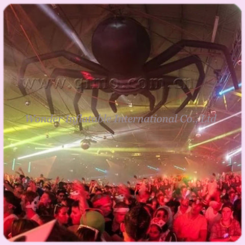 10'L Inflatable Halloween Hanging Spider With LED Lights - Inflatable Fun Warehouse
