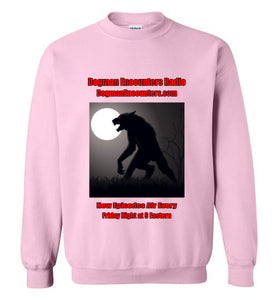 Dogman Encounters Stalker Collection Crew Neck Sweatshirt (red/black font) - Dogman Encounters
