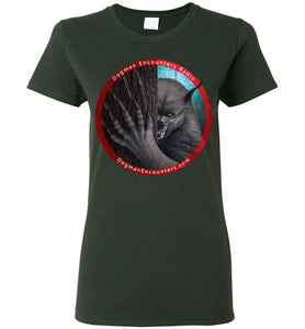 Ladies Dogman Encounters Rogue Collection T-Shirt (red border with white font) - Dogman Encounters