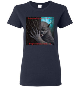 Ladies Dogman Encounters Rogue Collection T-Shirt (square with red font) - Dogman Encounters