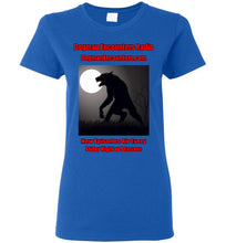 Ladies Dogman Encounters Stalker Collection T-Shirt (red/black font)