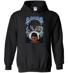 Dogman Encounters Pathfinder Collection Hooded Sweatshirt (design 3, with straight border) - Dogman Encounters