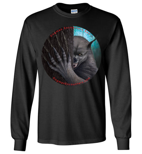 Men's Dogman Encounters Rogue Collection Long Sleeve T-Shirt (no border with red font) - Dogman Encounters