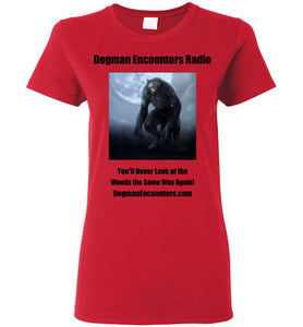Ladies Dogman Encounters Nocturnal Collection T-Shirt (black font) - Dogman Encounters