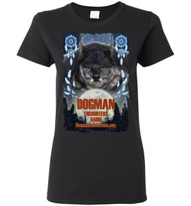 Ladies Dogman Encounters Pathfinder Collection T-Shirt (design 1, with ripped border) - Dogman Encounters
