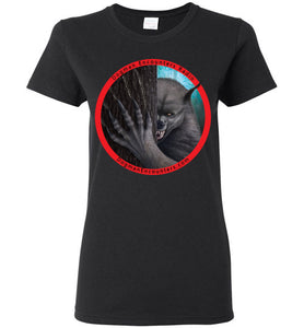 Ladies Dogman Encounters Rogue Collection T-Shirt (red border with black font) - Dogman Encounters