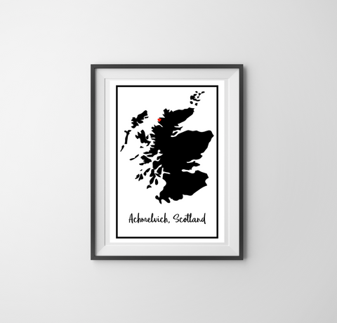 Achmelvich (Heart Map) Print