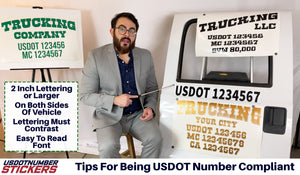 Examples of USDOT Compliant USDOT Lettering Number Decal Stickers