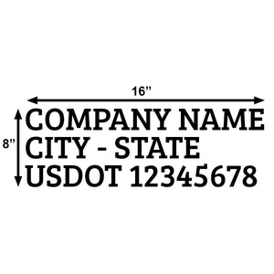 company name usdot decal sticker lettering door truck