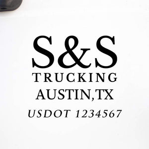 Company Name Truck Decal with location and USDOT