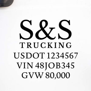 Company Name Truck Decal with Regulation Lines