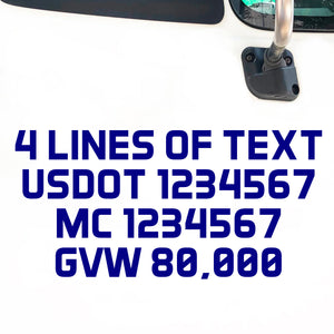 4 lines of text usdot mc gvw kyu decal sticker