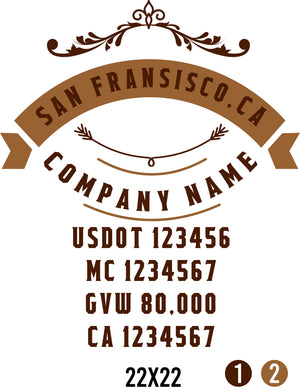 Company Name Truck Door Decal (USDOT, MC, GVW, CA) (set of 2)
