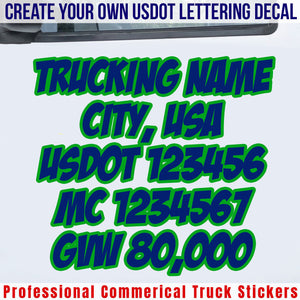 usdot truck door lettering decals