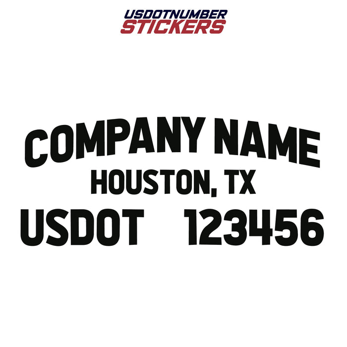 Company Name, Location & USDOT Decal Sticker (Set of 2)