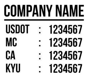 company name with usdot mc ca kyu lettering decal