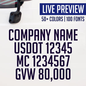 company name, usdot, mc, gvw truck decal sticker live preview
