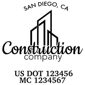 company name construction building and US DOT