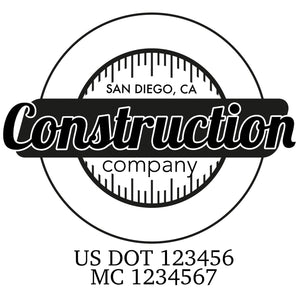 company name construction circle and US DOT