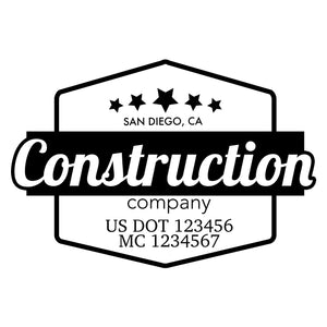 company name construction label and US DOT