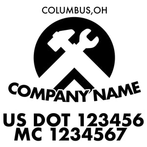 company name construction tools circle and US DOT
