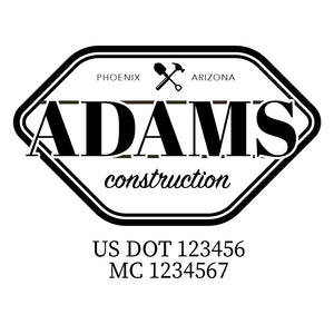 company name construction hammer shovel and US DOT