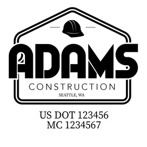 company name construction helmet and US DOT