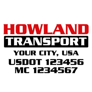 transport company name door decal with usdot mc lettering