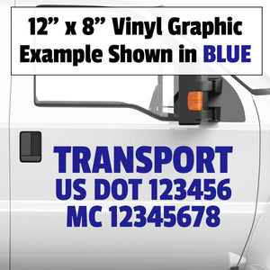 truck door decal with usdot mc lettering